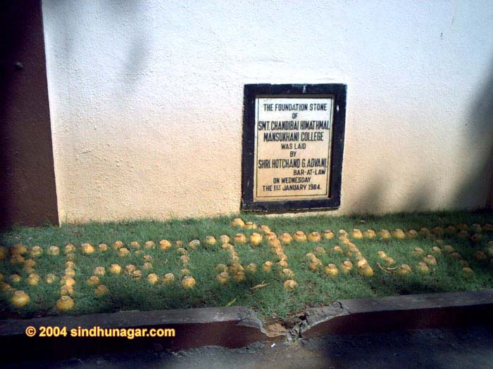 Smt. Chandibai Himatmal Mansukhani College, Foundation stone of CHM College.